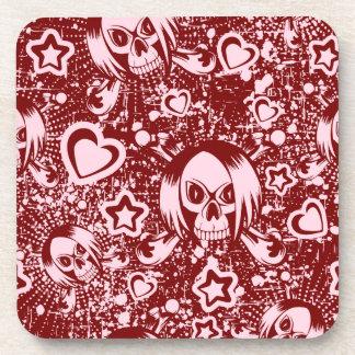 emo skull background coaster