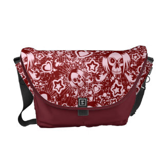 emo skull background messenger bags