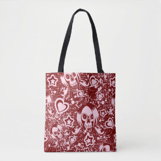 emo skull background tote bag
