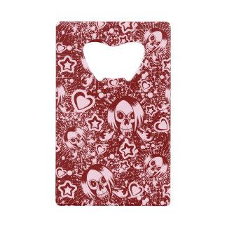 emo skull background wallet bottle opener