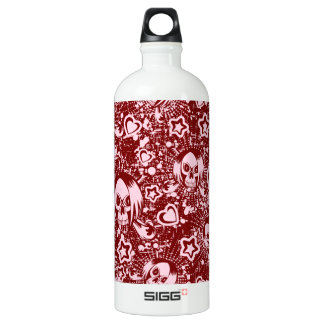 emo skull background water bottle