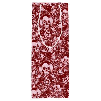 emo skull background wine gift bag