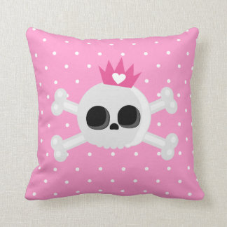 Emo Skull with Crown on Polka Dots Pink Background Throw Pillow