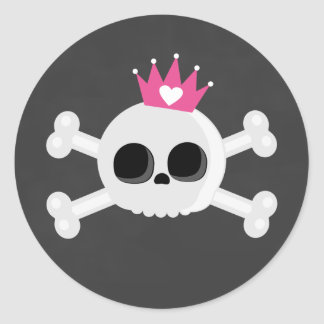 Emo Skull with Crown Round Sticker