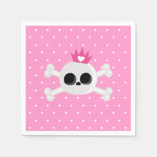 Emo Skull with Pink Background Disposable Napkins