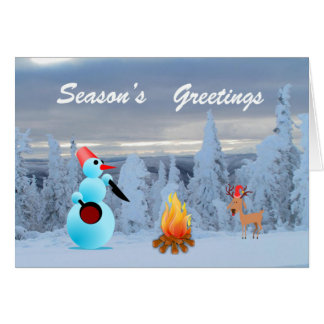 EMO Snowman Cooking Dinner Greeting Card