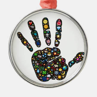 Emoji-art handprint with natural world icons metal ornament