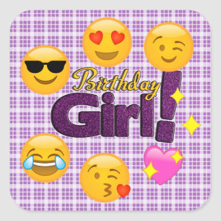 Emoji Birthday Girl Plaid Stickers