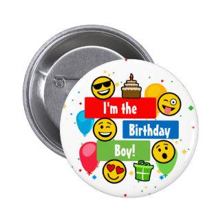 Emoji Birthday Party Kids Im the Birthday Boy 2 Inch Round Button