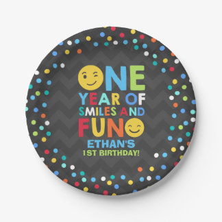 Emoji Birthday Party Paper Plate Smiley Face Party