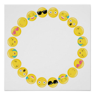 Emoji Birthday Party Selfie Photobooth Backdrop Poster
