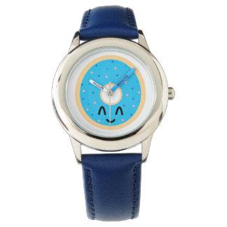 Emoji blue donut watch. watch