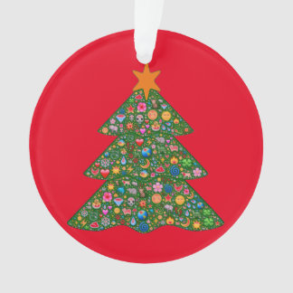 Emoji christmas tree and red Built4Love heart Ornament