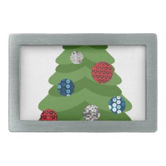 emoji christmas tree rectangular belt buckle