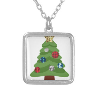 emoji christmas tree silver plated necklace