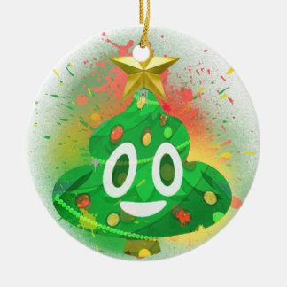 Emoji Christmas Tree Spray Paint Ceramic Ornament