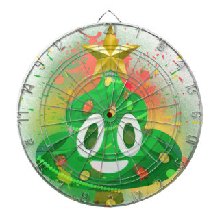 Emoji Christmas Tree Spray Paint Dartboard