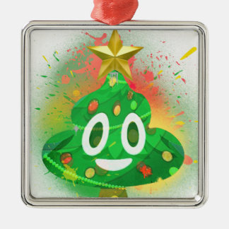 Emoji Christmas Tree Spray Paint Metal Ornament