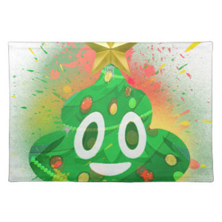 Emoji Christmas Tree Spray Paint Placemat