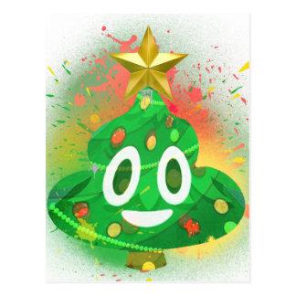 Emoji Christmas Tree Spray Paint Postcard