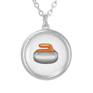 Emoji Curling Stone Silver Plated Necklace