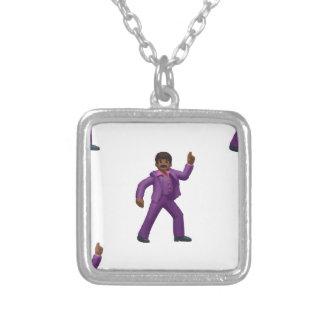 Emoji Dancing Man Silver Plated Necklace