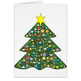 Emoji-decorated tree Holiday greeting card