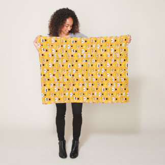 Emoji Design Funny Yellow Faces Fleece Blanket