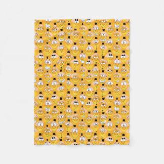 Emoji Design Funny Yellow Faces Fleece Blanket