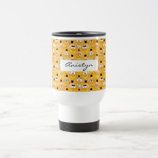 Emoji Design in Yellow Colors Travel Mug