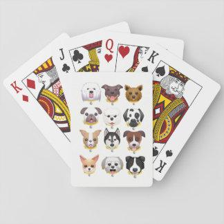 Emoji dog faces background playing cards