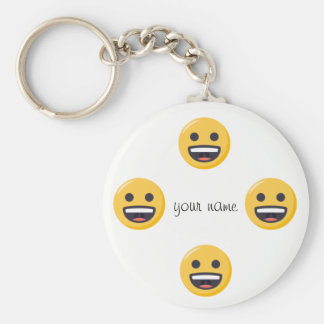 "Emoji Face  and '' Your Name Here "" Basic Round Button Keychain"