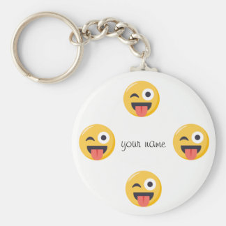 "Emoji Face  and '' Your Name Here "" Keychain"