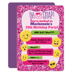Emoji Girls Teen Tween Birthday Pink Glitter Card