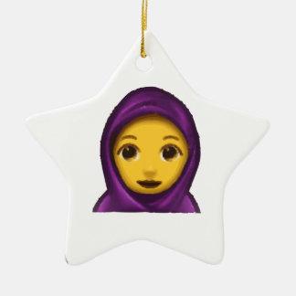 emoji hajib ceramic ornament