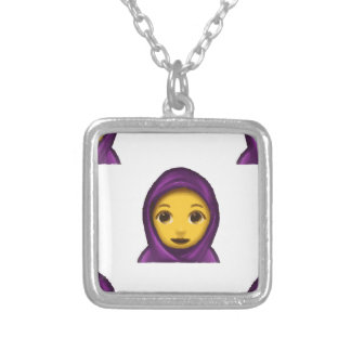 emoji hajib silver plated necklace