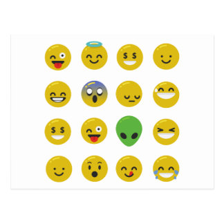 Emoji happy face postcard