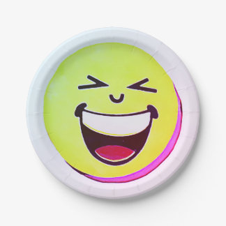 Emoji happy smile face, cartoon raibow colors art paper plate