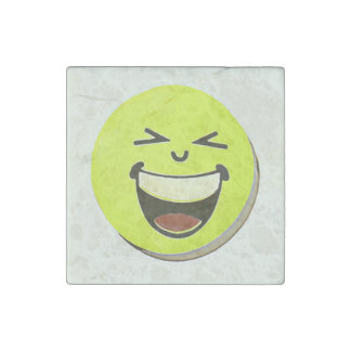 Emoji happy smile face, cartoon shadowed artwork stone magnets