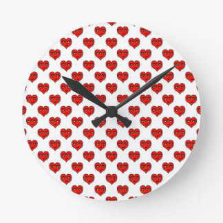 Emoji Heart Shape Drawing Pattern Wall Clock