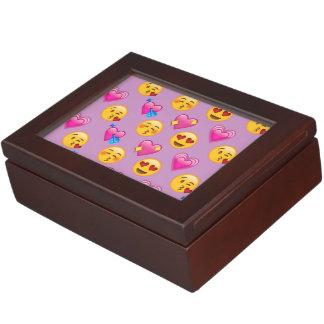 Emoji Hearts and Love Pink Patternsd Keepsake Box