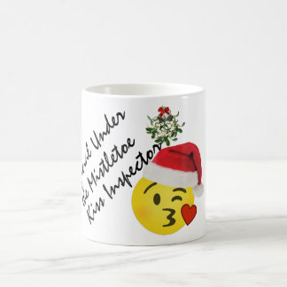 emoji kiss official under mistletoe kiss inspector coffee mug