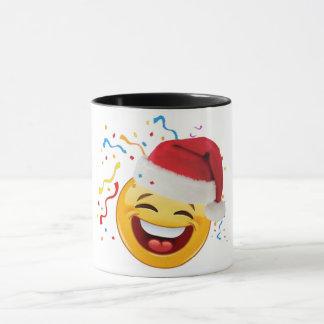 emoji kiss under mistle-toe merry christmas mug