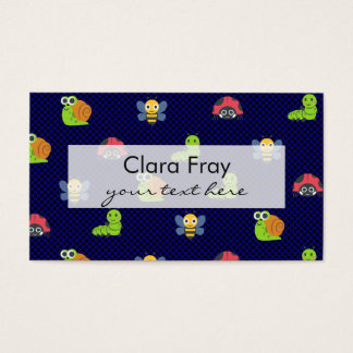 emoji lady bug caterpillar snail bee polka dots business card