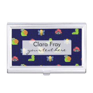 emoji lady bug caterpillar snail bee polka dots business card holder