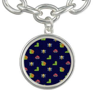 emoji lady bug caterpillar snail bee polka dots charm bracelet