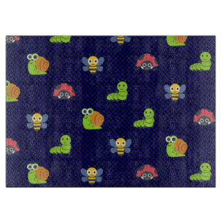 emoji lady bug caterpillar snail bee polka dots cutting board