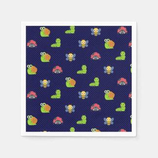 emoji lady bug caterpillar snail bee polka dots disposable napkins