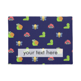 emoji lady bug caterpillar snail bee polka dots doormat