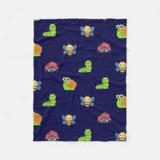 emoji lady bug caterpillar snail bee polka dots fleece blanket